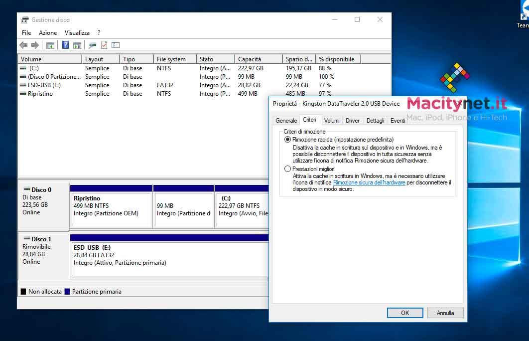 Proprietà dischi in Windows 10
