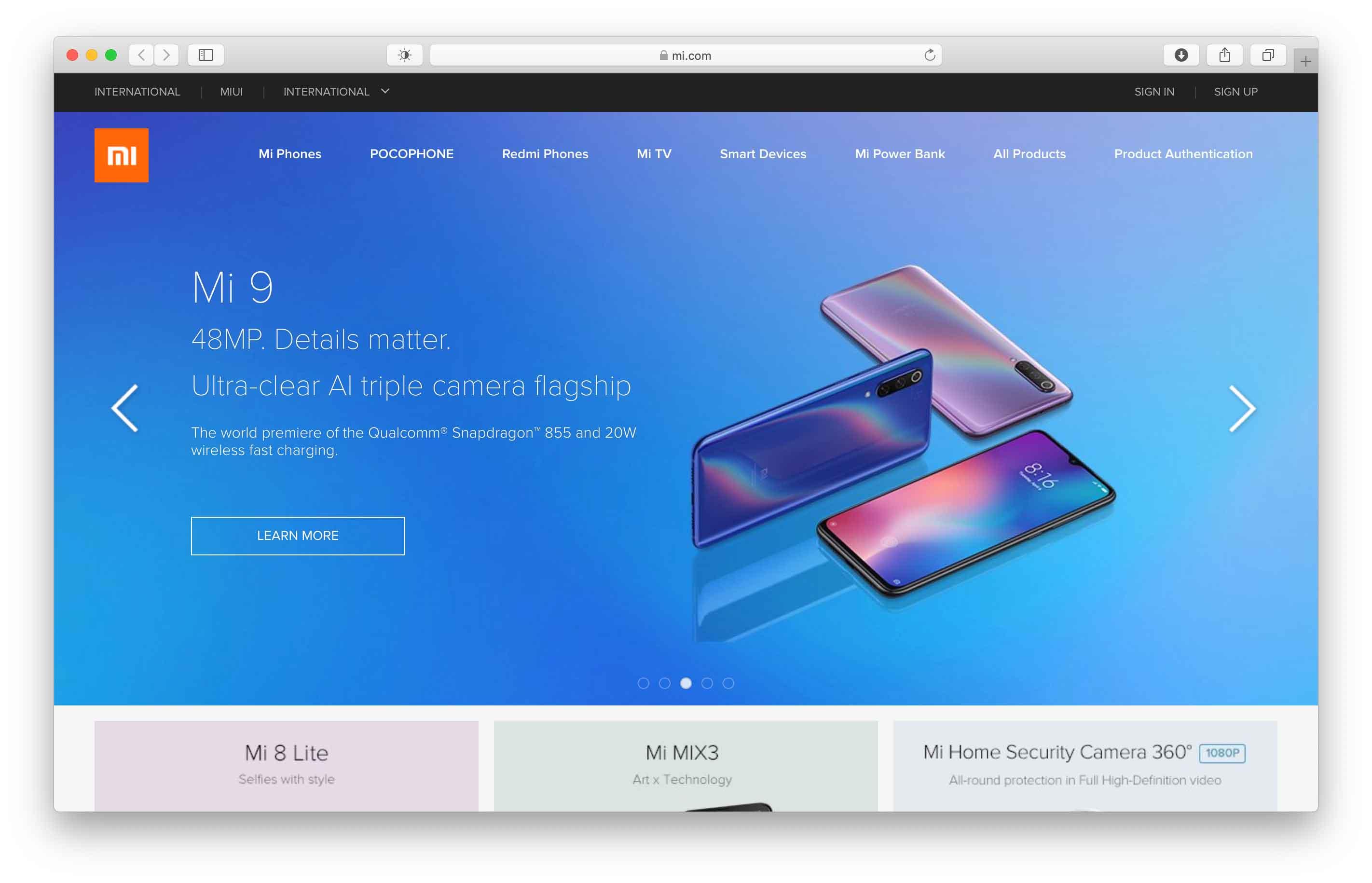 Sito web Xiaomi