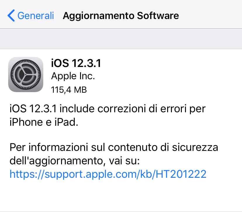 Disponibile iOS 12.3.1 per iPhone e iPad