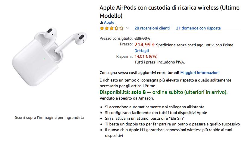 Torna lo sconto sulle Airpods 2 con ricarica wireless in sconto: 217,55€; vecchie Airpods 149,99