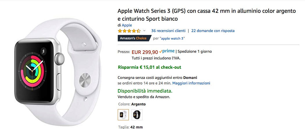 Sconto su Apple Watch 4 GPS+Cellular 44mm a 505 €, Apple Watch 3 a 284€