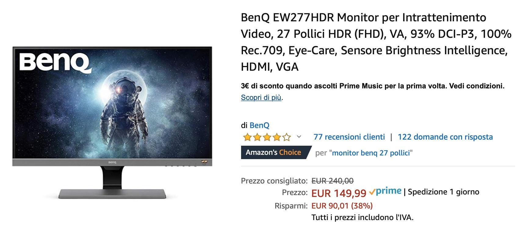 Sconto su BenQ EW277HDR, monitor 27″ HDR, ideale per Mac ed Apple TV: solo 149,99€