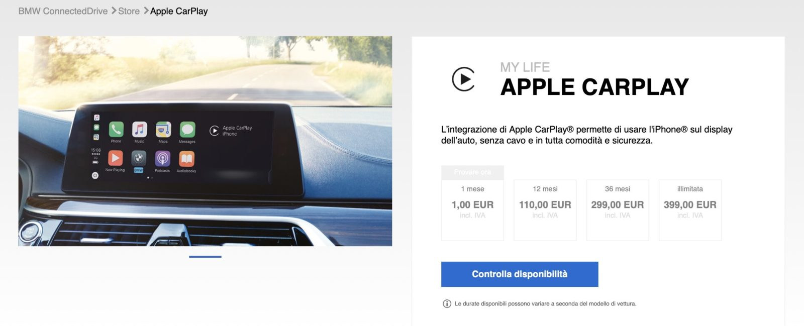 I problemi su CarPlay in abbonamento di BMW impediscono l'uso di iPhone