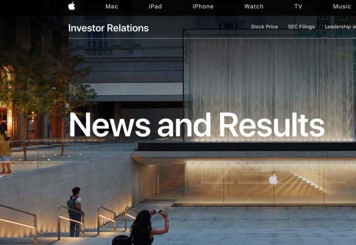 Sito web investitori Apple
