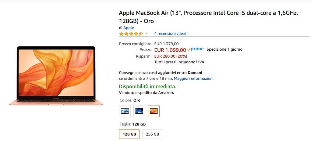 MacBook Air e Macbook Pro in sconto su Amazon: ribassi fino al 20%