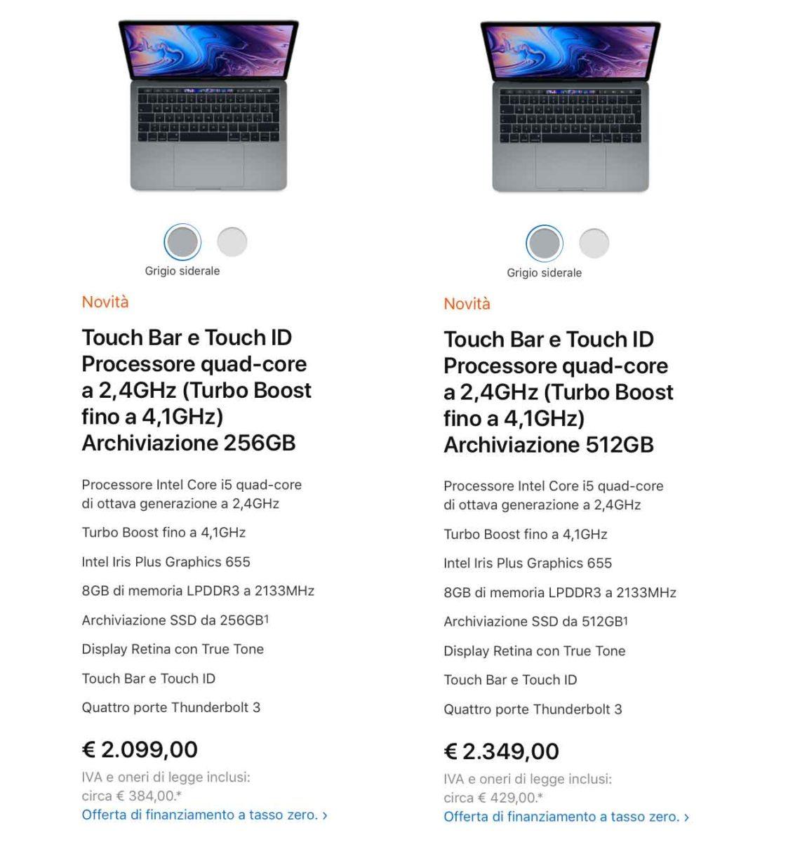 """Prezzi nuovi MacBook 13"""" metà 2019"""