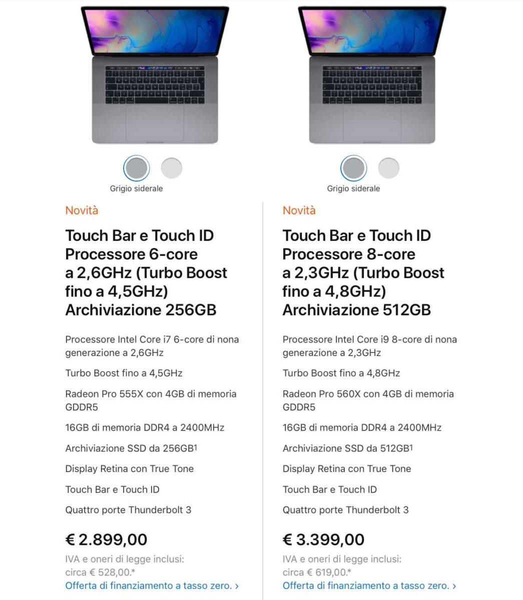 Nuovi MacBook Pro 13″ e 15″ metà 2019, prezzi e dettagli sulle CPU