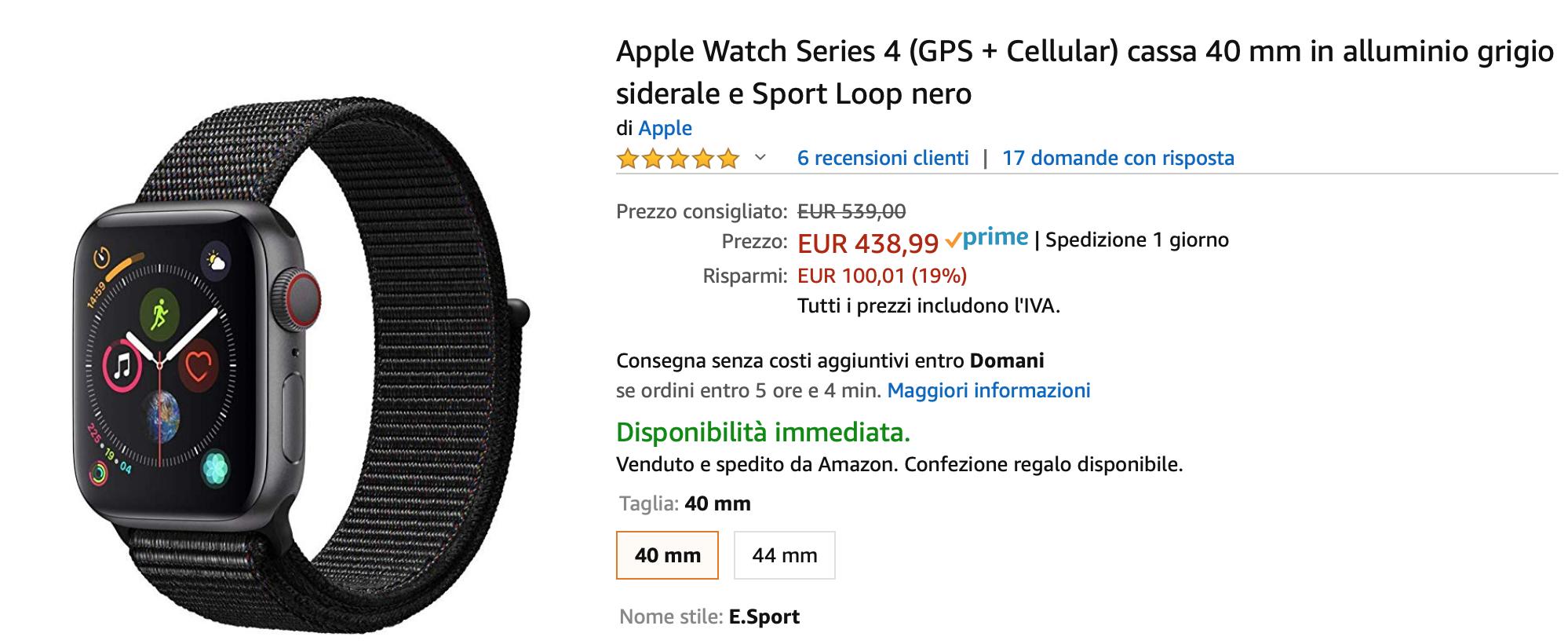 Sconto Apple Watch 3 su Amazon: prezzo da 256 Euro