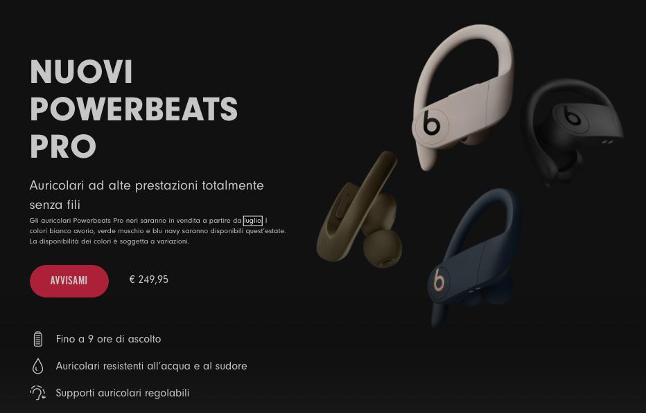 Powerbeats Pro in Italia, confermato il prezzo ma slitta l'uscita