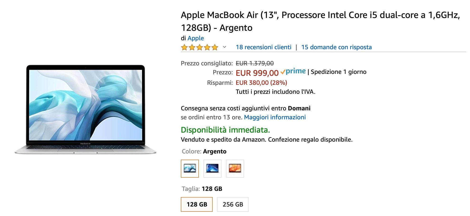Super sconti: MacBook Air 13″ retina 999 euro, MacBook Air 13″ 799 euro!