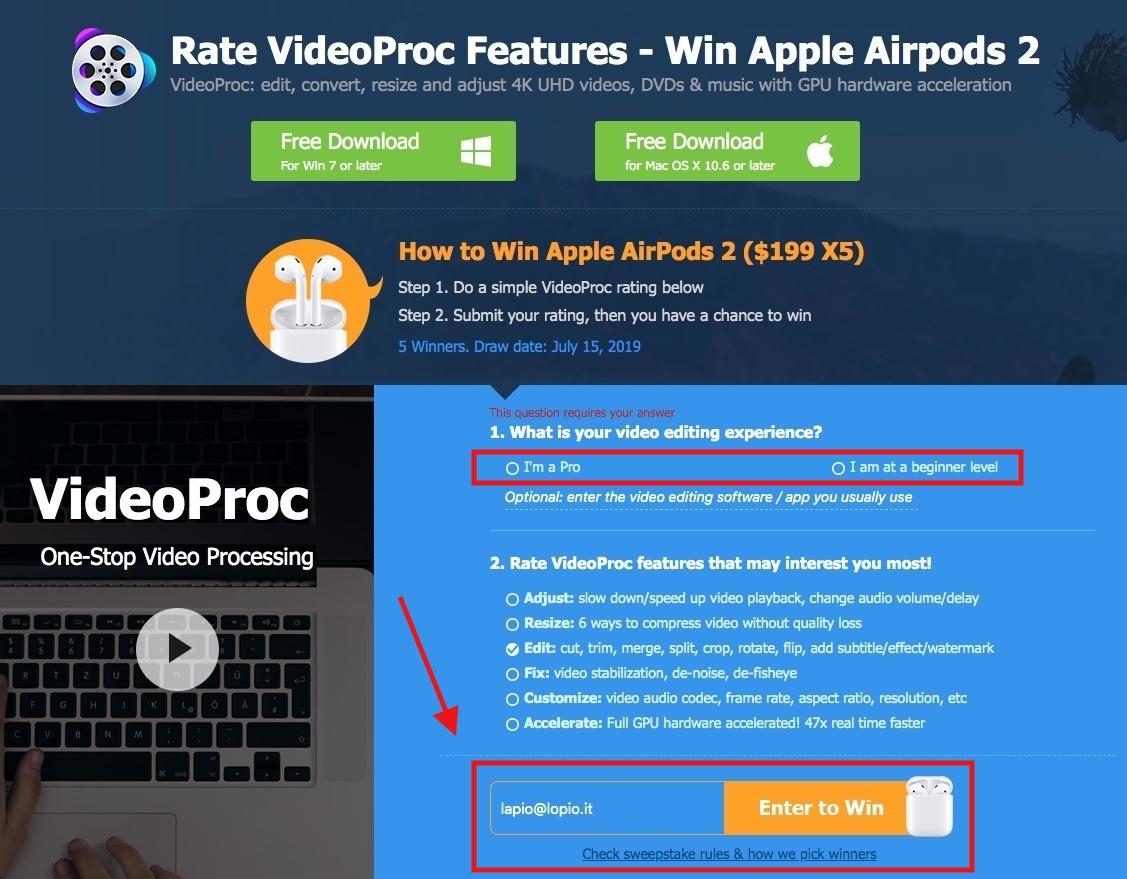 Vinci una top action camera e ottieni una licenza gratis di VideoProc per Mac