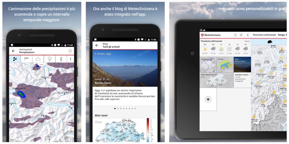 MeteoSwiss, l'app del servizio meteorologico nazionale della Confederazione Svizzera