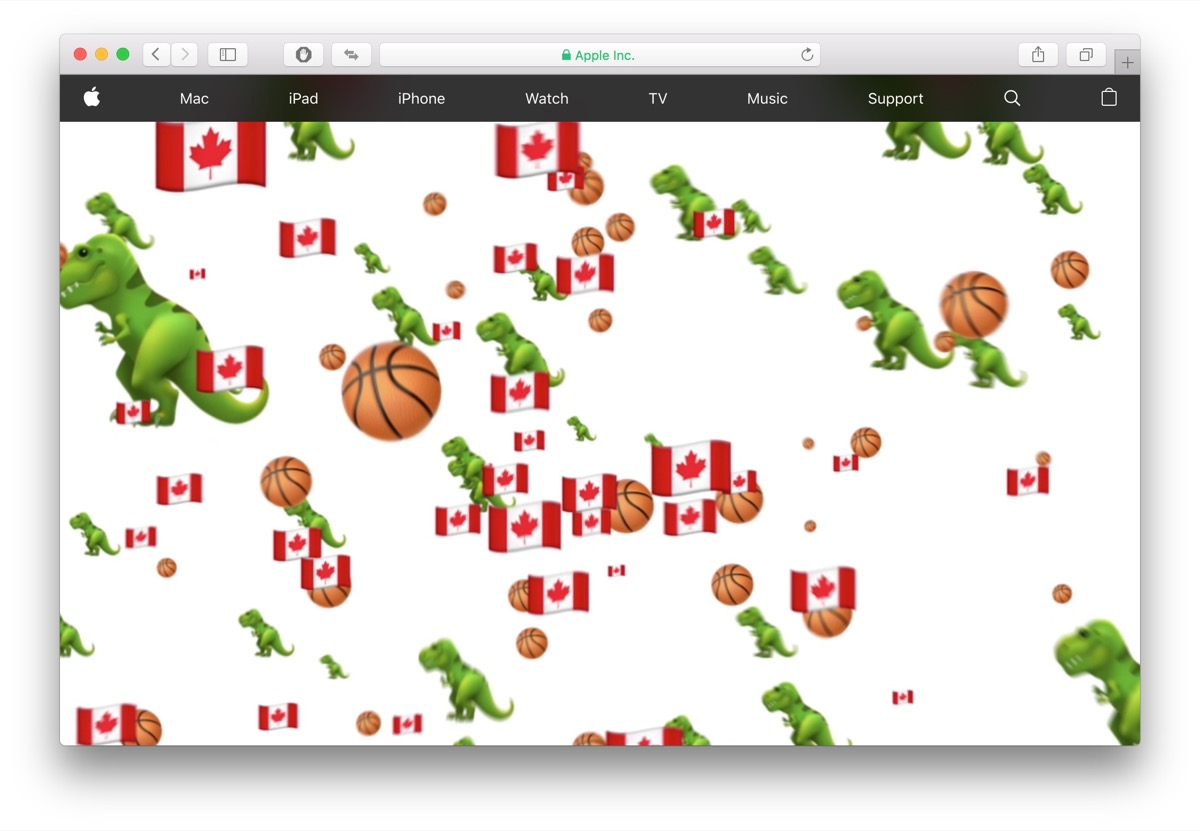 Apple festeggia i Toronto Raptors inondando il proprio sito di emoji a tema