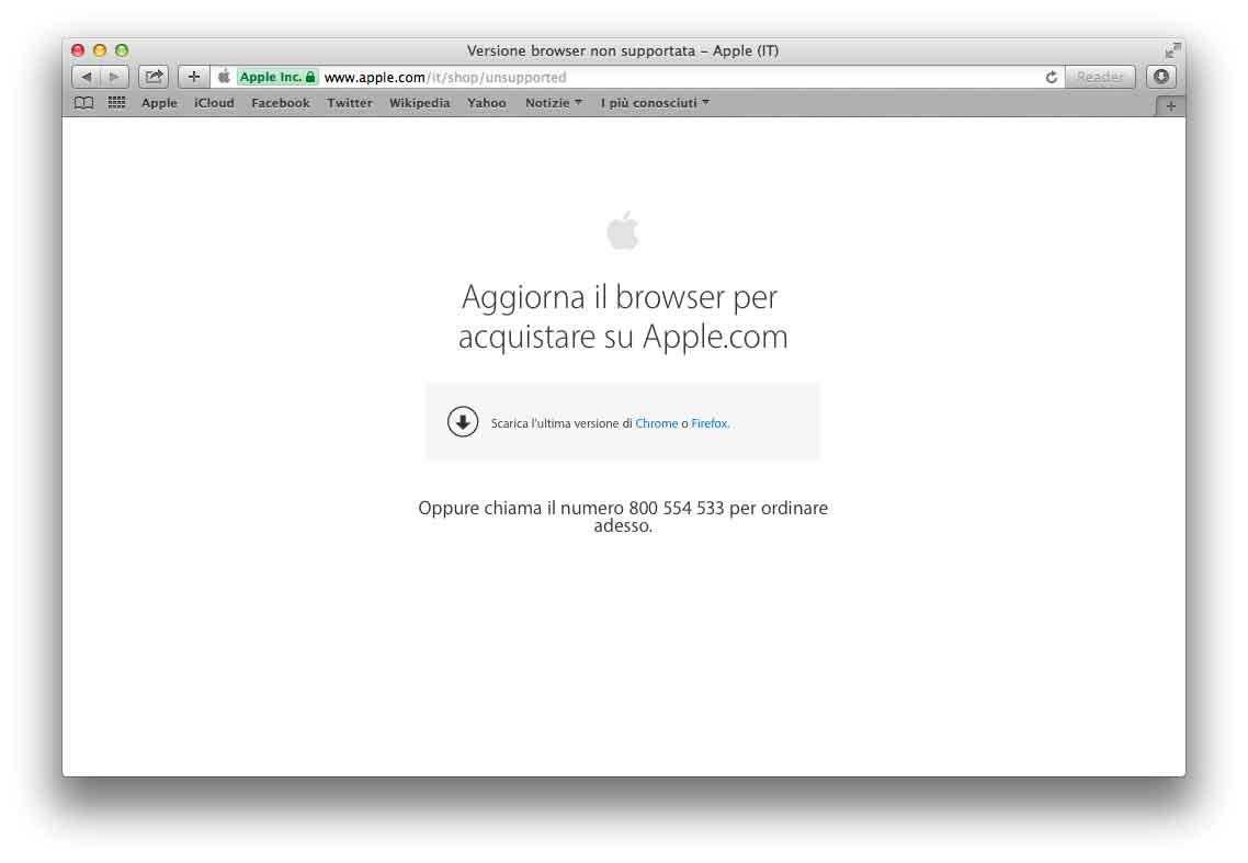 Apple non consente acquisti sullo store online con vecchie versioni dei browser