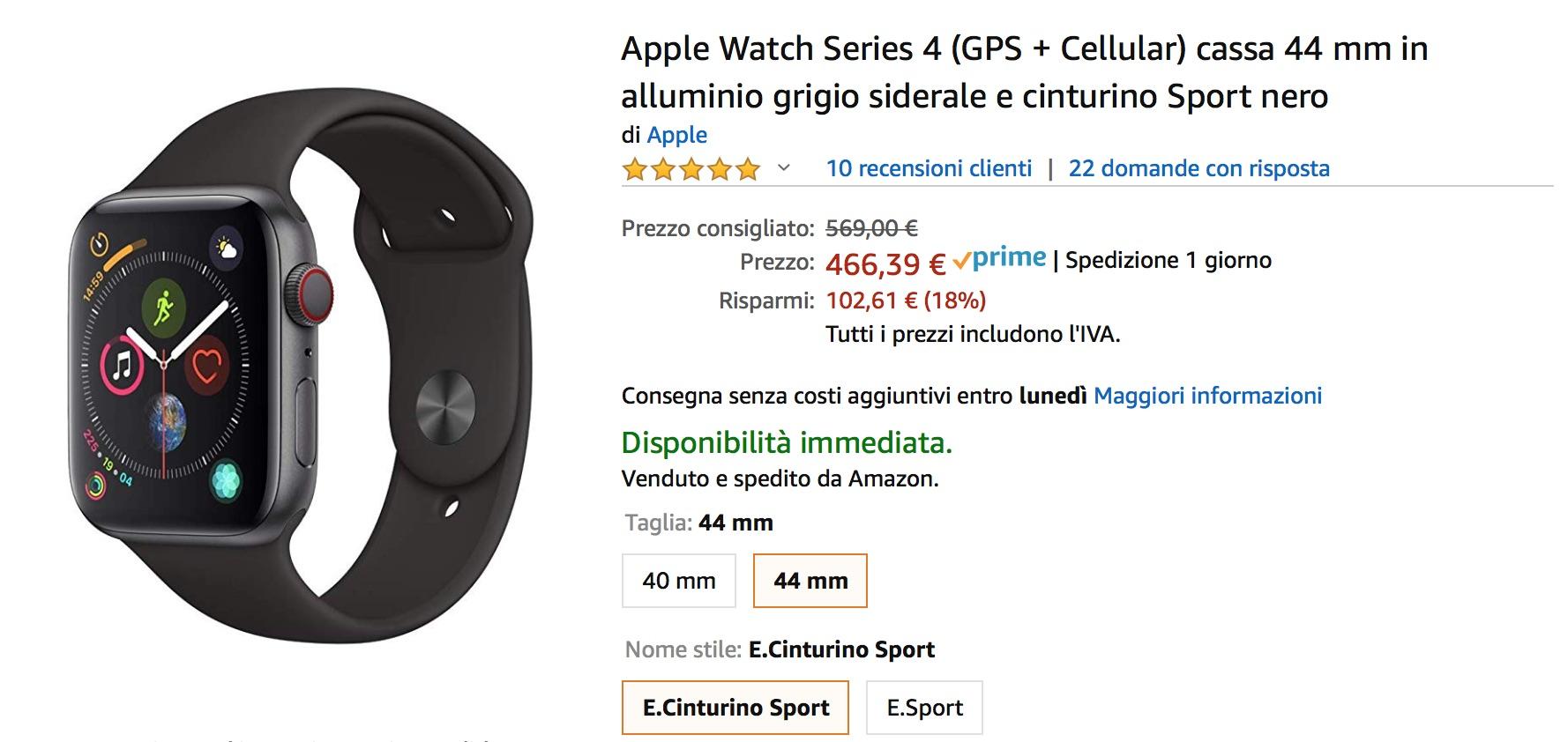 Affari Amazon: Apple Watch 4 GPS Cellular