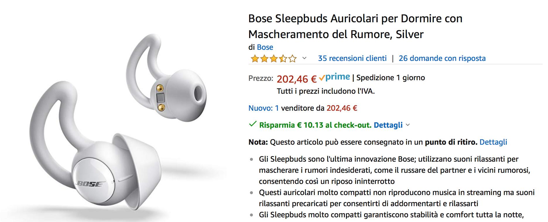 Gli auricolari Bose per dormire in super sconto su Amazon: 192€