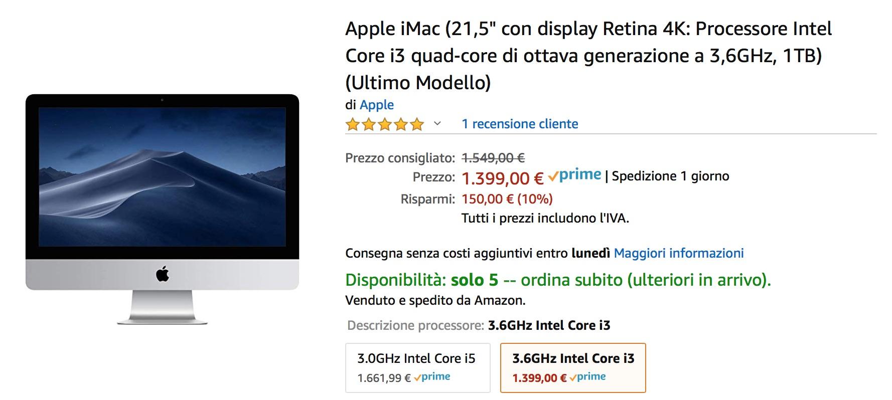 Nuovi iMac già in sconto su Amazon