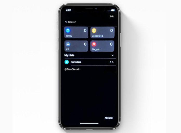 iOS 13, il tema scuro nell'applicazione Promemoria sarà così