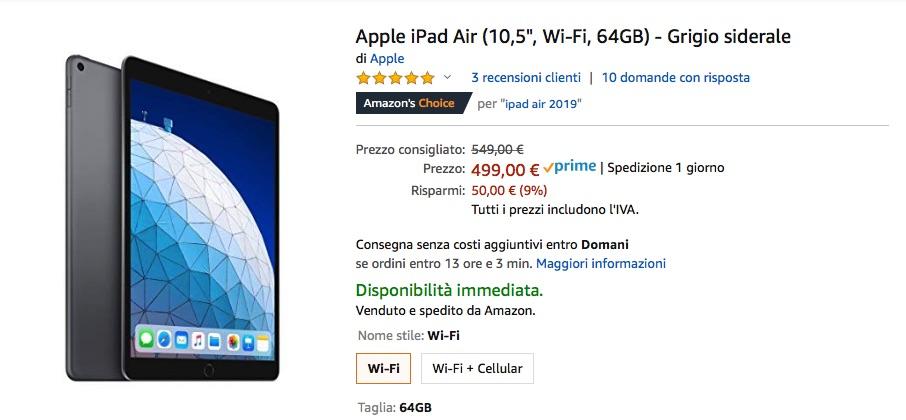 L'iPad Air 2019 scontato di 50 € su Amazon