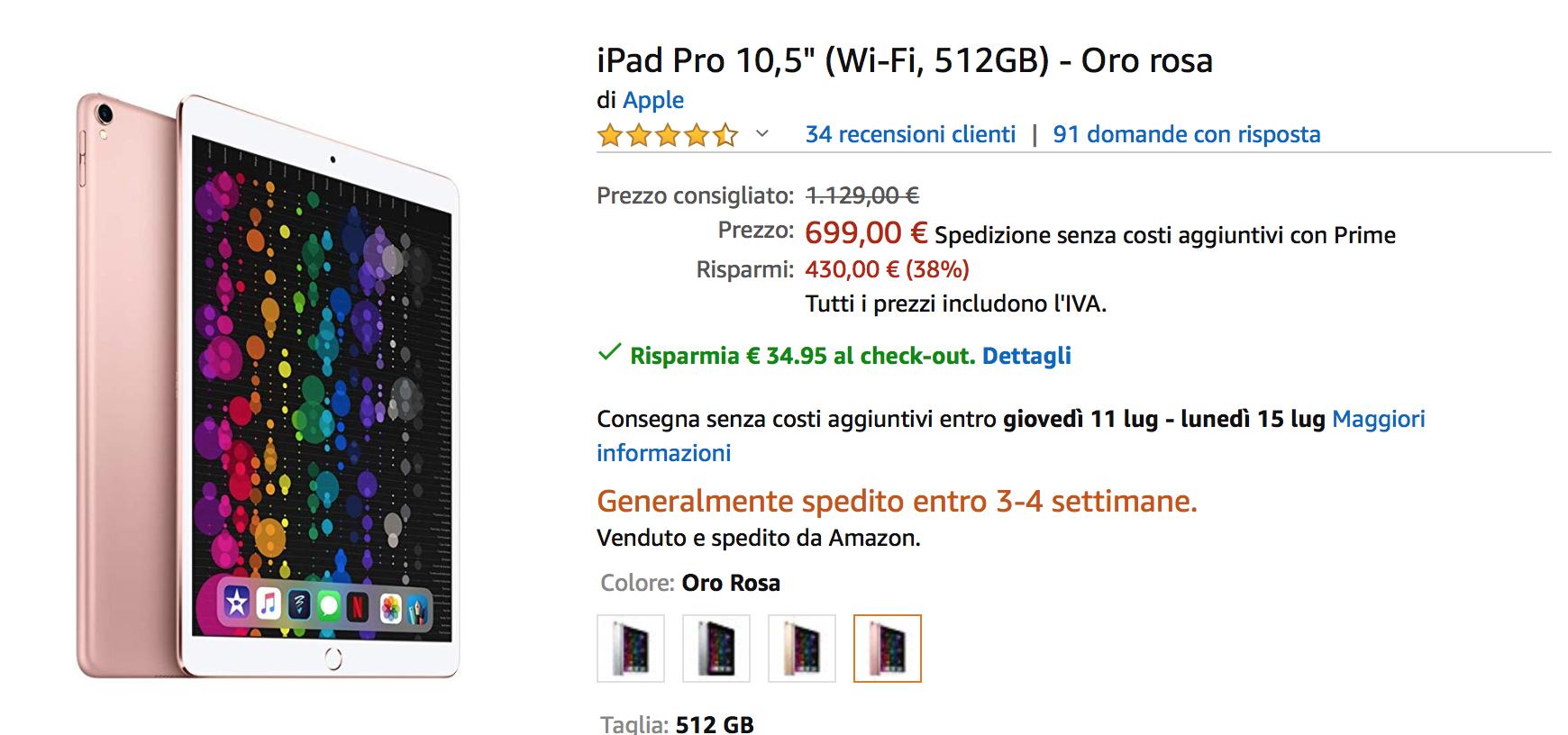 iPad Pro 2017 a prezzi impossibili: 10,5 pollici 512 GB a 664€, 12,9″ a 803 euro