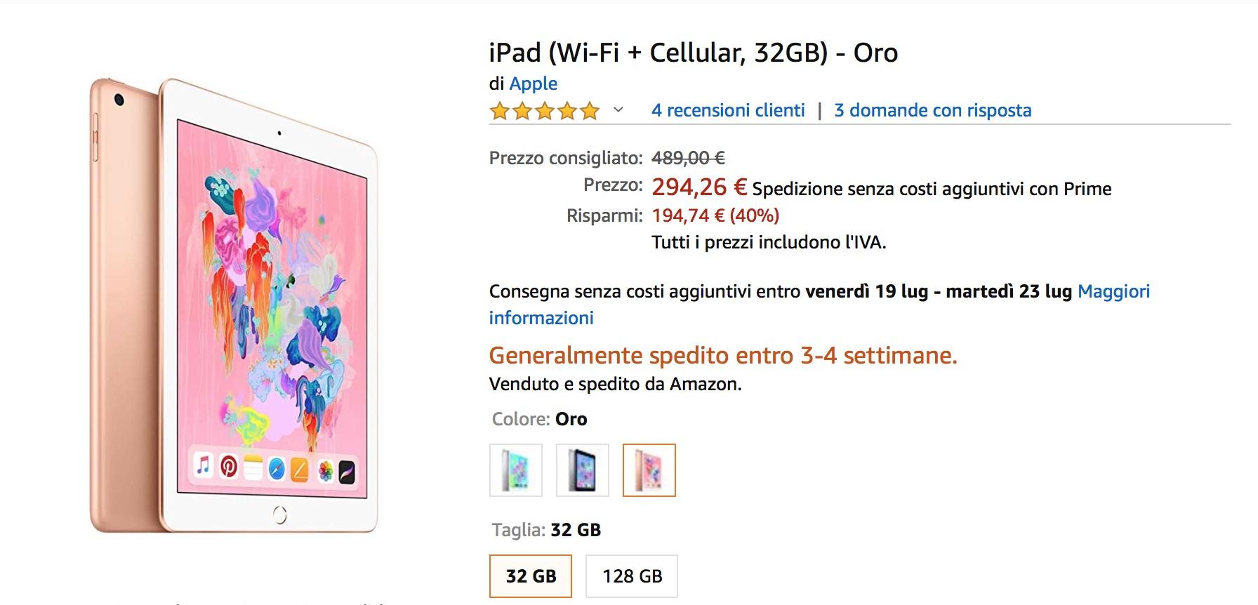 Amazon vi obbliga a comprare un iPad: sconto del 40% su iPad di sesta generazione