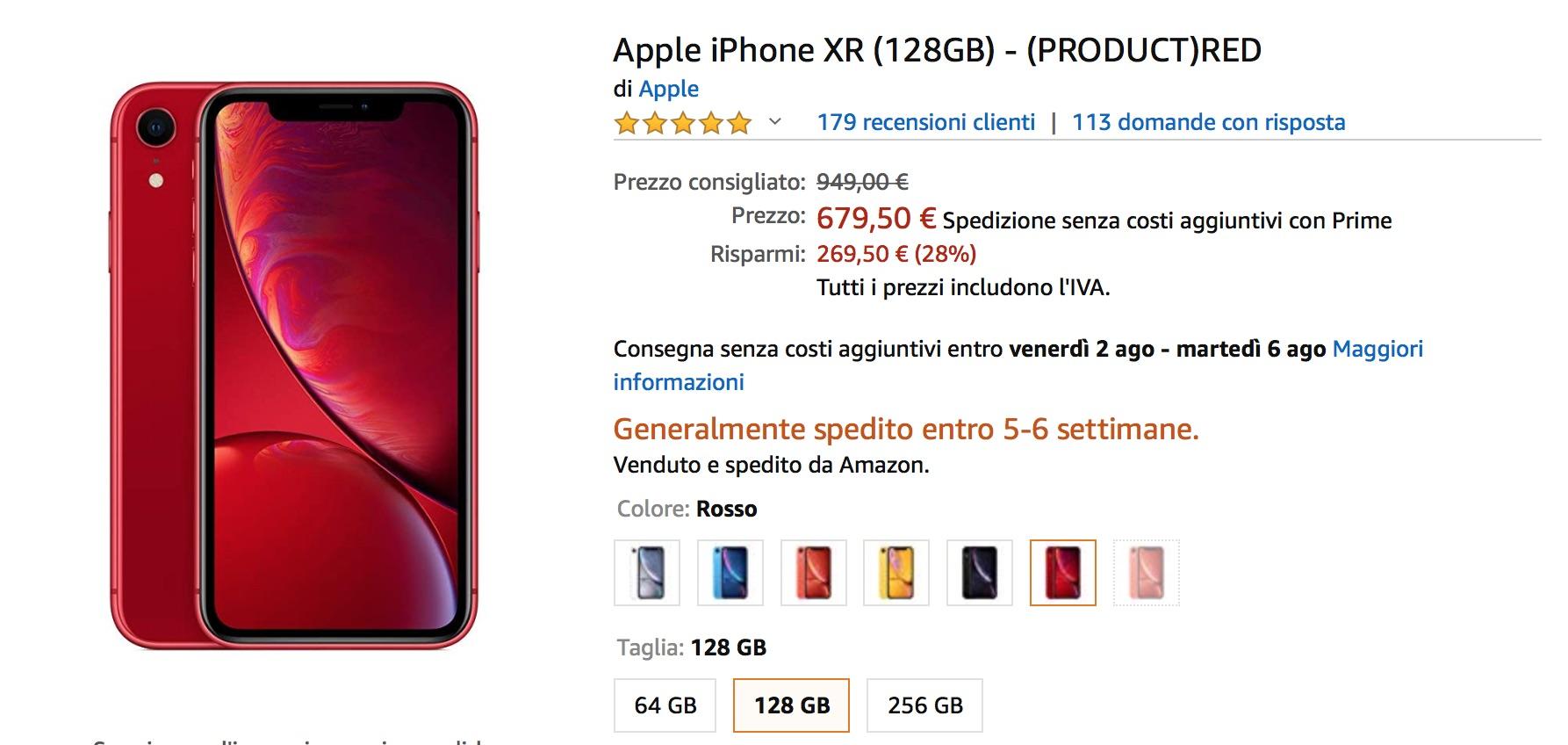 Sì è vero, Amazon vende iPhone XR 128 Gb a 679 euro!