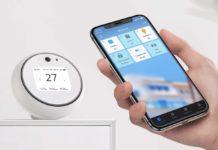 """Il pluri-sensore Homekit Koogeek 2.8 """" Intelligent Wi-FI legge qualità dell'aria, luce, suono, temperatura e umidità"""
