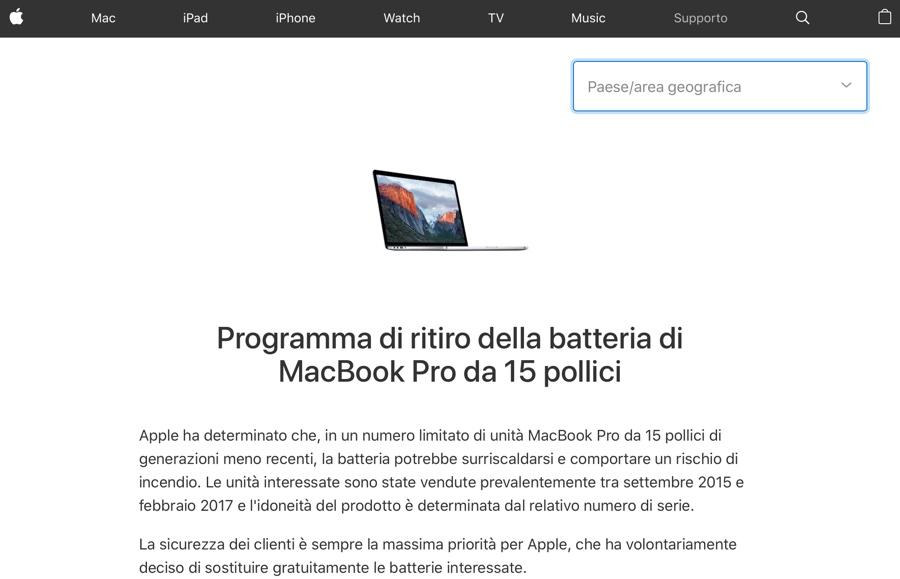 MacBook Pro con batteria difettosa, poche decine di segnalazioni su migliaia di portatili