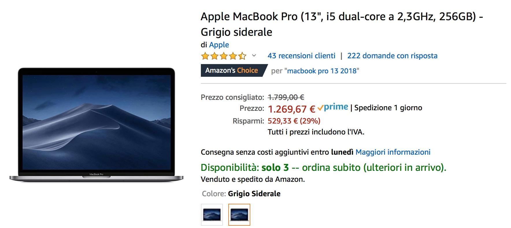 Due MacBook Pro 13″ 256 GB solo 1269,67 euro, prezzo incredibile
