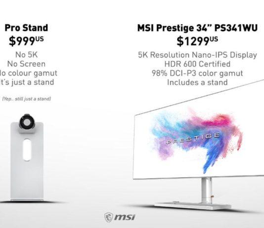 Sfottò di MSI ad Apple, il monitor 5K costa come il supporto di Cupertino