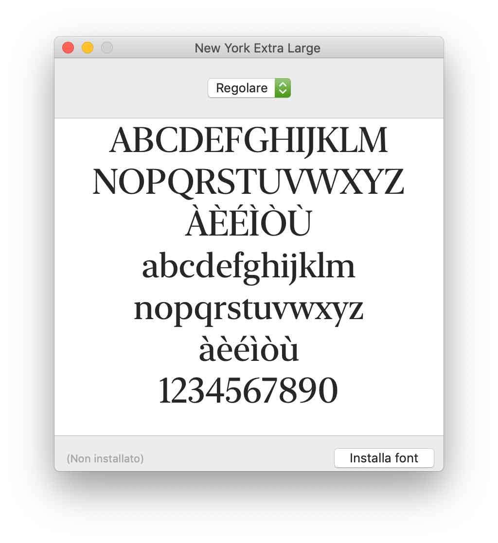 """Il font """"New York"""" di serie con i primi Mac rivisitato e si scarica gratis"""
