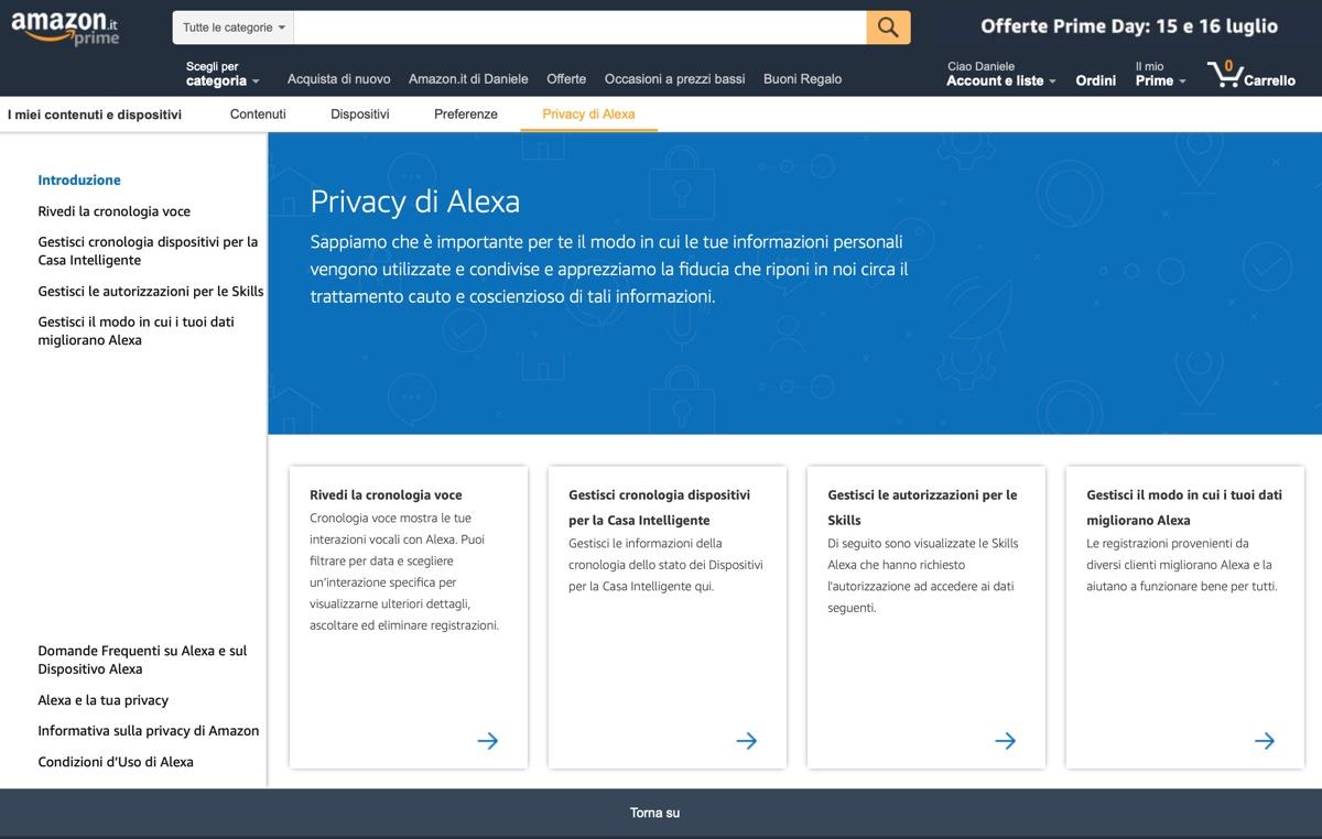 Privacy di Alexa, ora è possibile cancellare tutte le nostre richieste con la voce