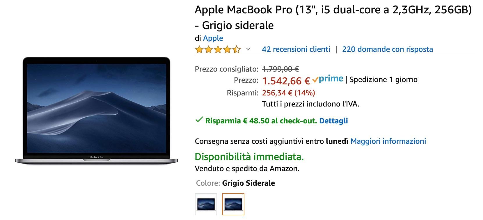 MacBook Pro 13″ ai prezzi minimi su Amazon: si parte da 1249€