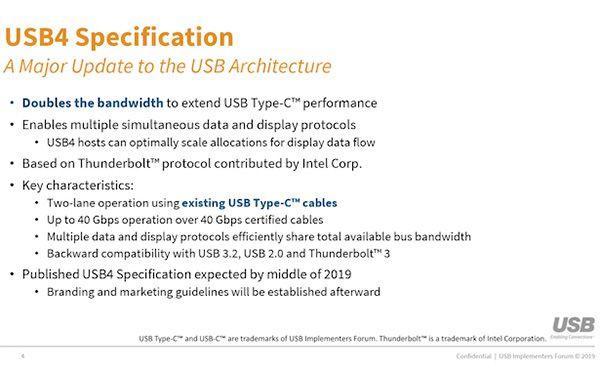 Le specifiche dello standard USB4 saranno completate prima della fine dell'estate