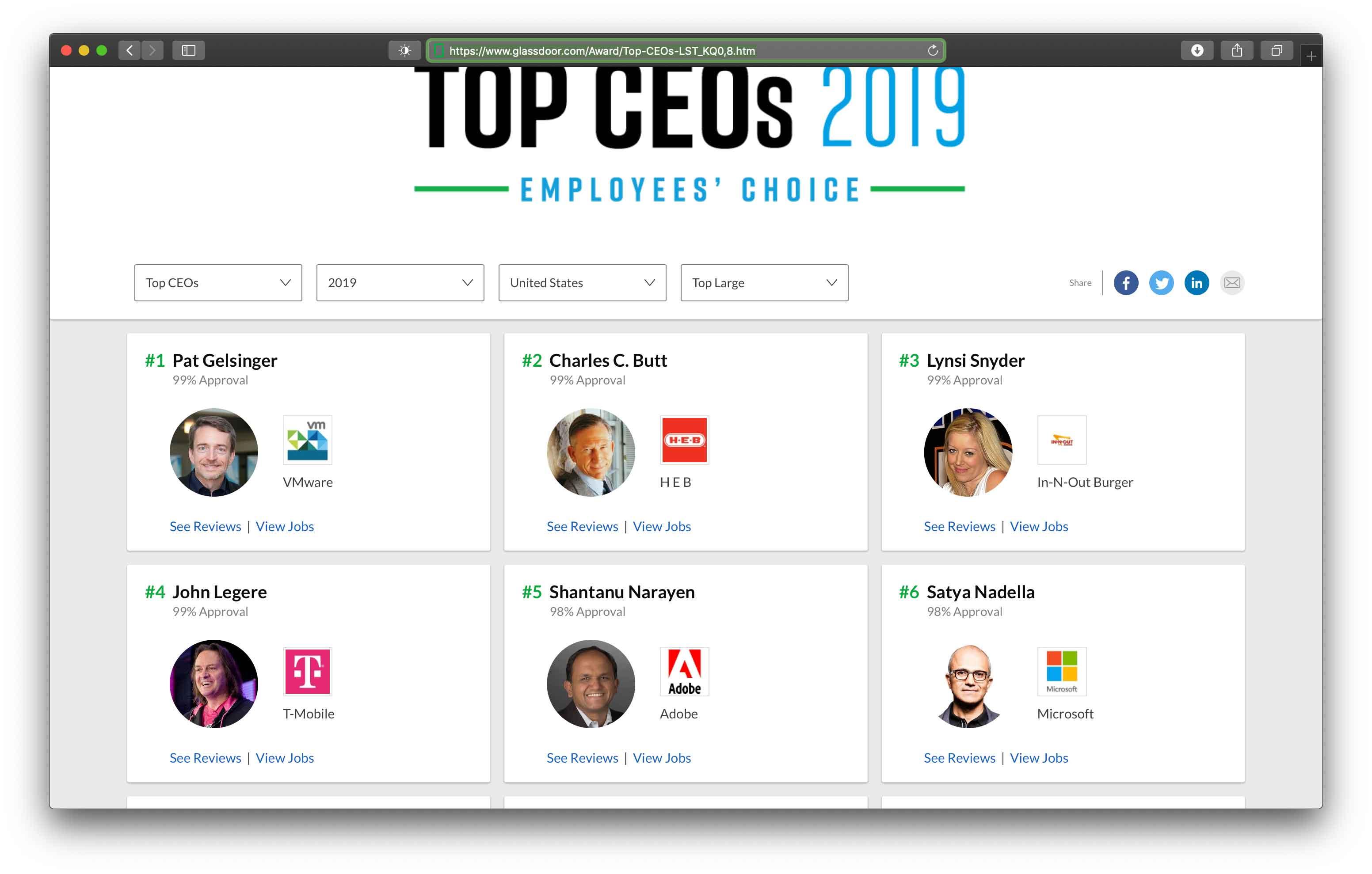 Tom Cook in salita nell'annuale classifica dei migliori CEO secondo i dipendenti