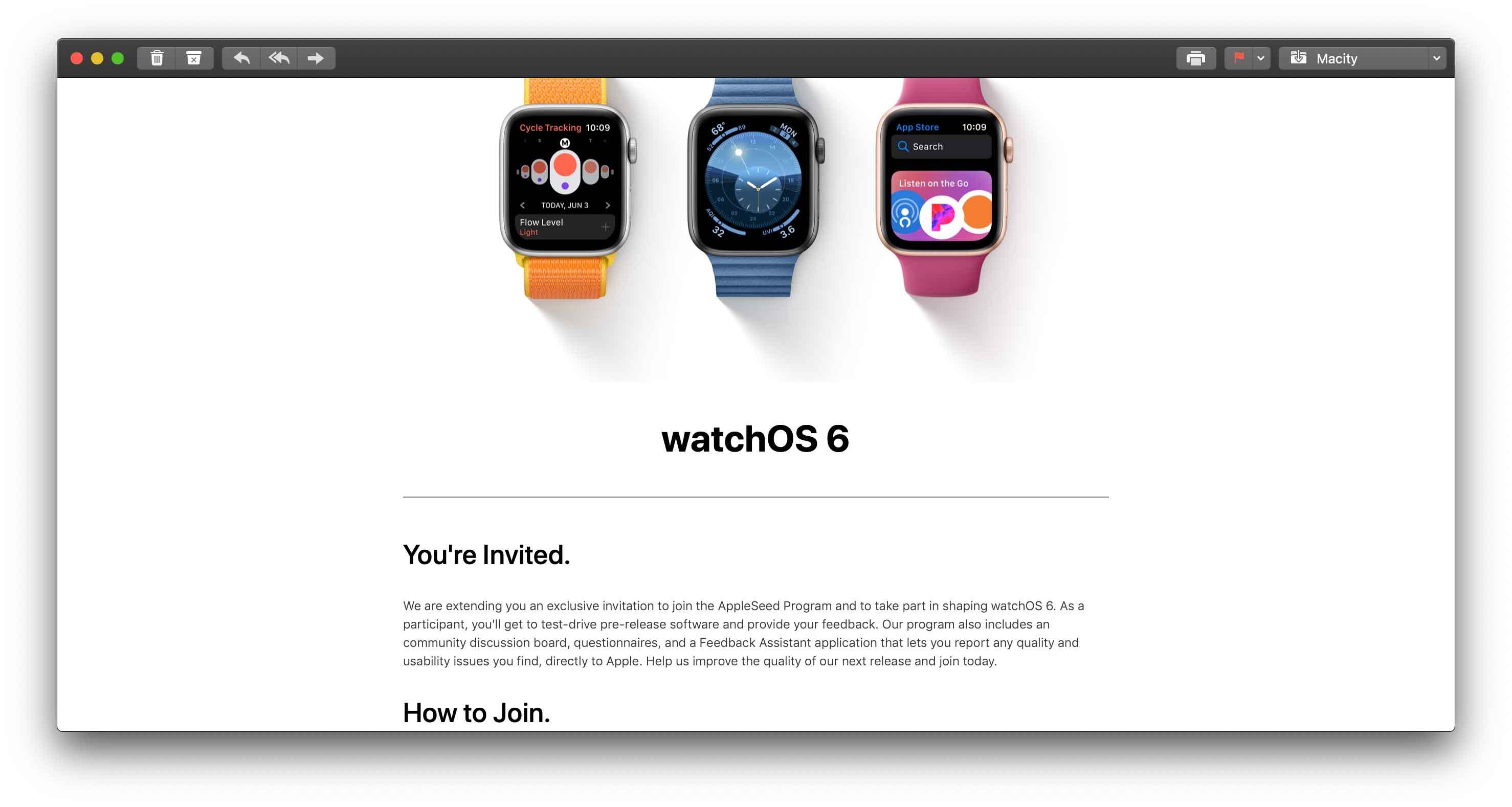 Apple ha inviato ad alcuni utenti gli inviti per provare in anteprima watchOS 6 beta