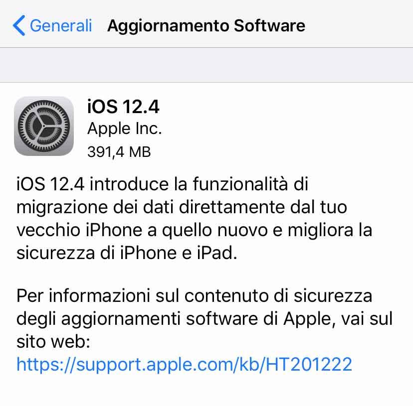 Disponibile aggiornamento a iOS 12.4 per iPhone e iPad