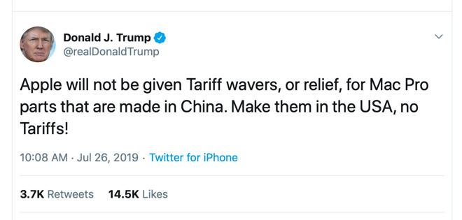 Trump dice no alle deroghe che Apple aveva chiesto sui dazi in Cina