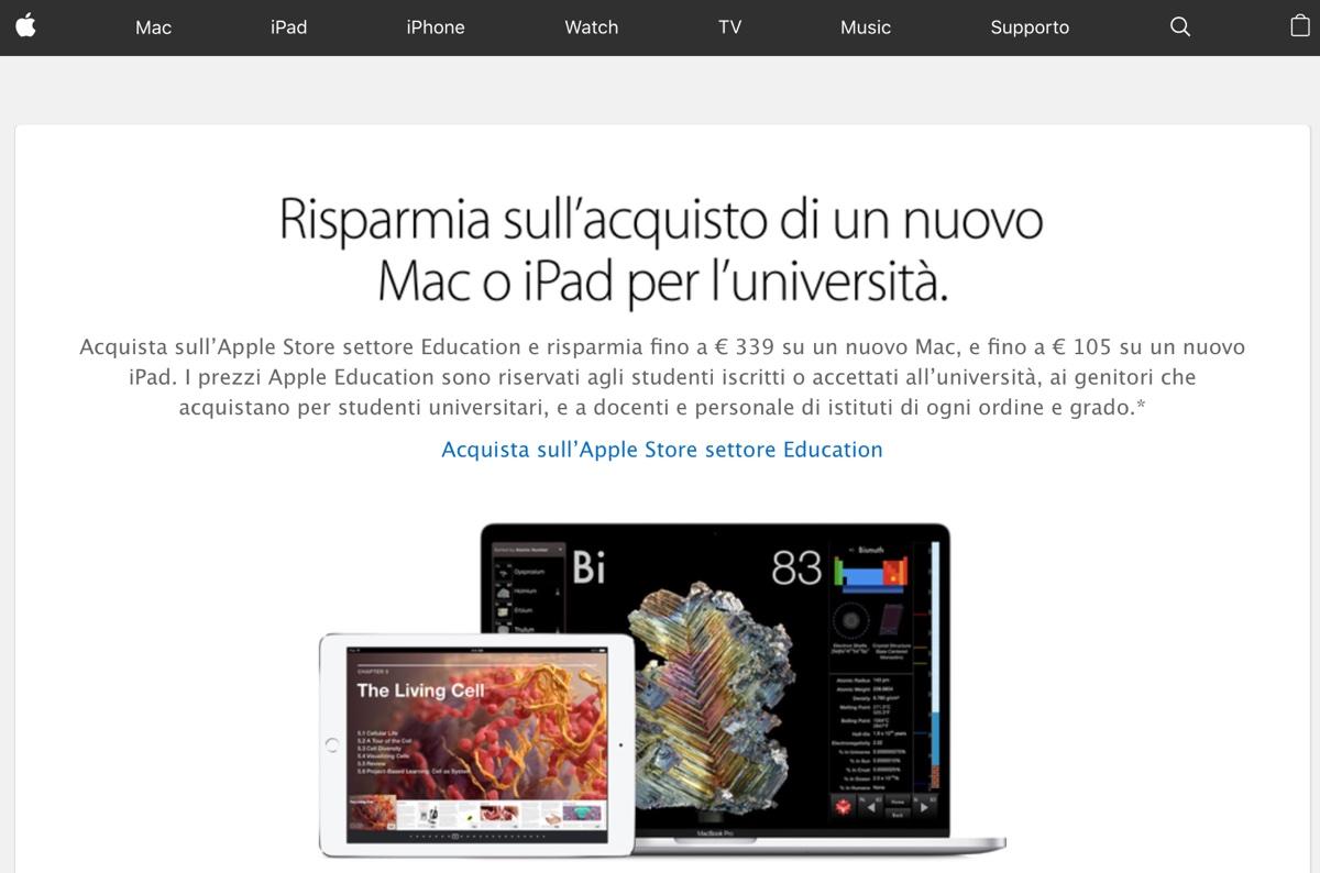 Apple Store Education fuori servizio, attese le promozioni