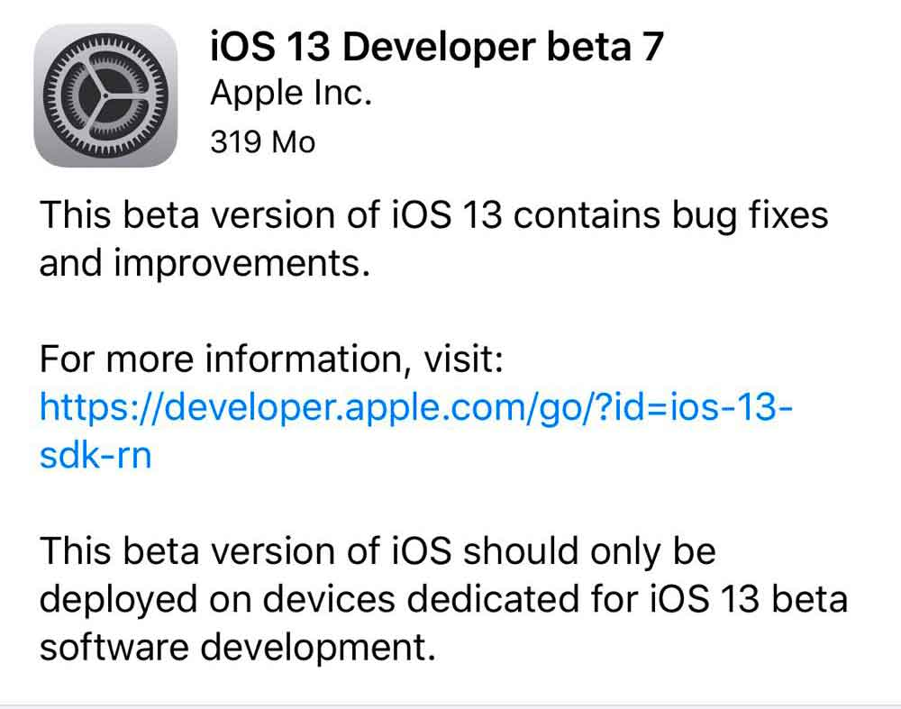 Quinta beta di iOS 13, iPadOS, tvOS 13 e gli sviluppatori