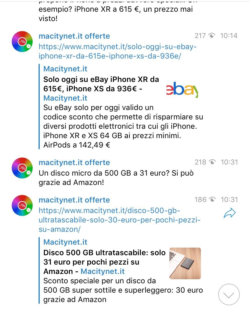 Offerte top dal mondo Apple ed elettronica con il canale Telegram di Macitynet