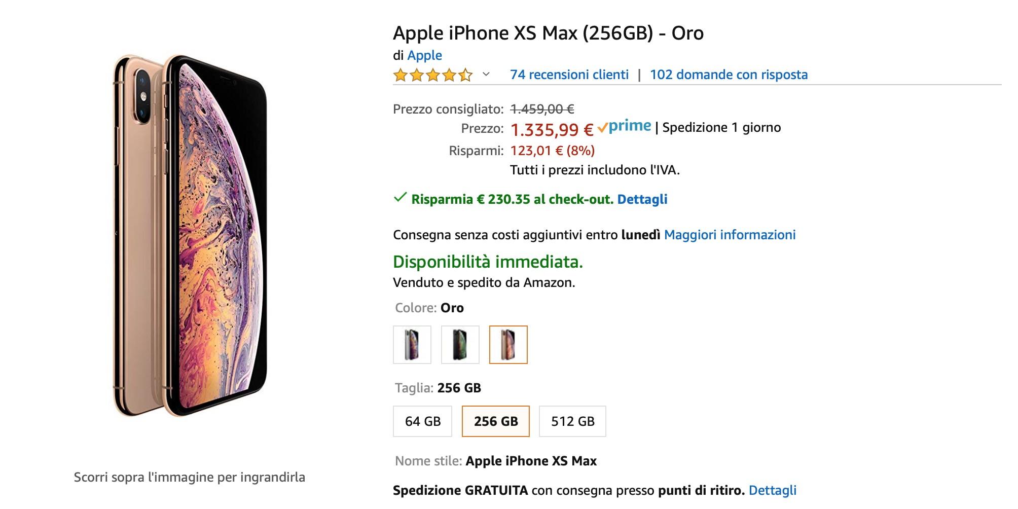 Amazon: iPhone XS più conveniente che al Prime Day, sconti del 24%