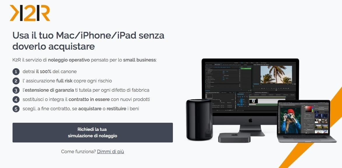 K2Rent, il noleggio operativo per Apple Mac, iPhone e iPad a costo zero