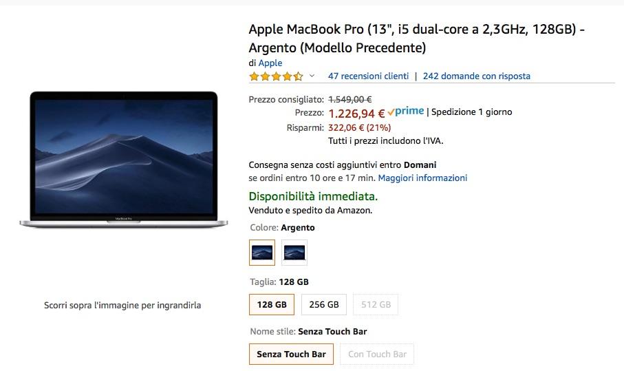MacBook 13 in sconto del 20% su Amazon