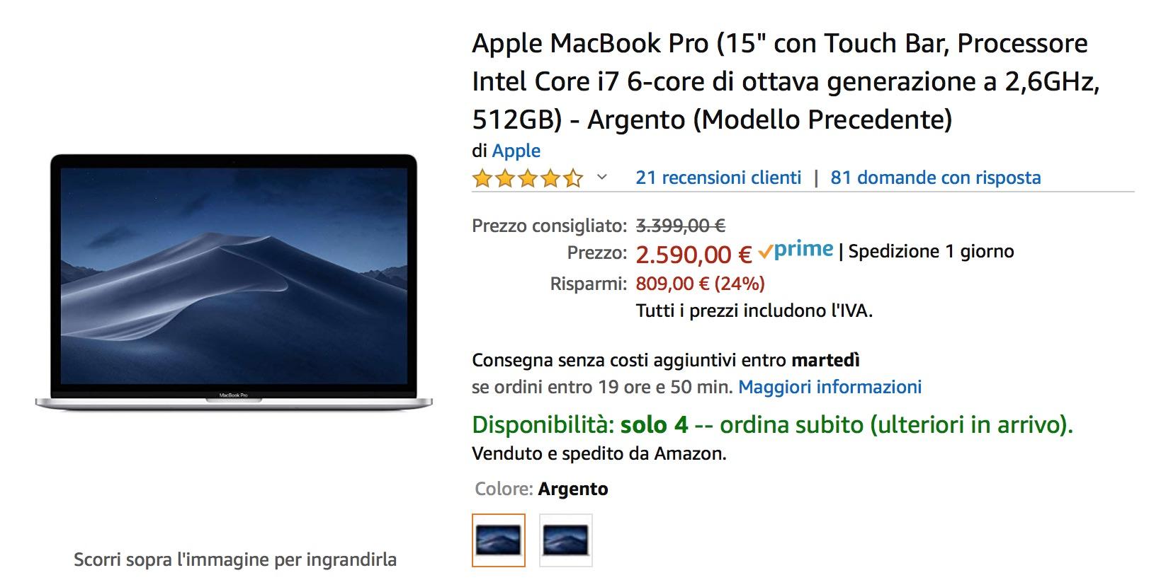 Il MacBook Pro15″ top 2018 scontato di 800 euro