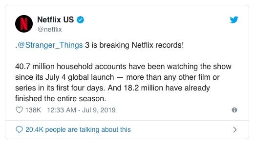 Stranger Things 3 conquista il pubblico dello streaming: visto da oltre 40 milioni di utenti Netflix