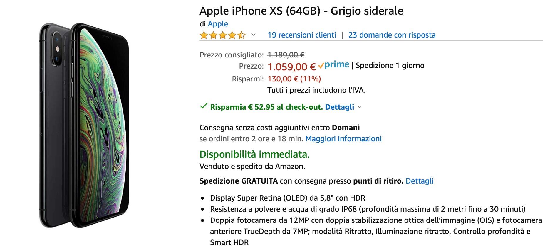 Sconti nel carrello Amazon: iPhone XS Max al prezzo più basso, iPhone XS super conveniente