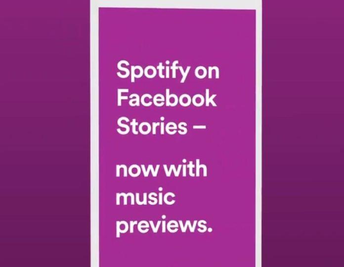 Sulle storie di Facebook si possono condividere i brani Spotify in clip da 15 secondi