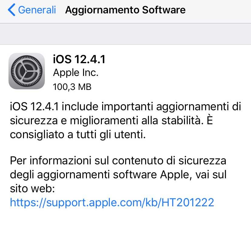 Disponibili iOS 12.4.1 e tvOS 12.4.1 con aggiornamenti di sicurezza