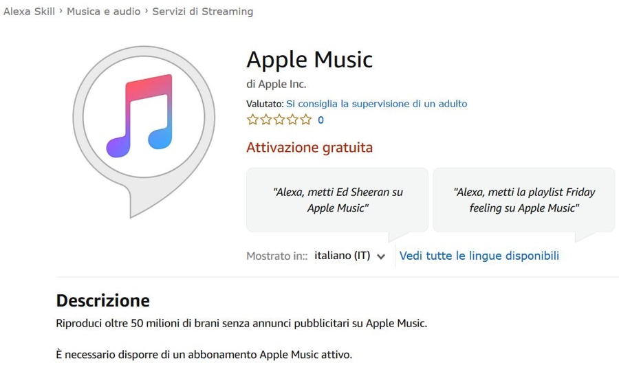 Apple Music è ora disponibile per i dispositivi Alexa